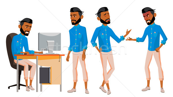 Arab Man Office Worker Vector. Set. Arab, Muslim. Islamic. Face Emotions, Various Gestures. Animated Stock photo © pikepicture