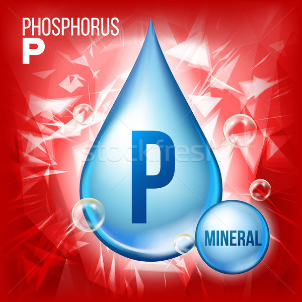 P Phosphorus Vector. Mineral Blue Drop Icon. Vitamin Liquid Droplet Icon. Substance For Beauty, Cosm Stock photo © pikepicture