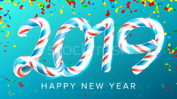 2019 Happy New Year Background Vector. Numbers 2019. Christmas Colours. Blue. Classic Xmas 3D Candy  Stock photo © pikepicture