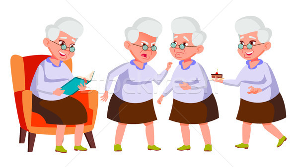 Old Woman Poses Set Vector. Elderly People. Senior Person. Aged. Beautiful Retiree. Life. Card, Adve Stock photo © pikepicture
