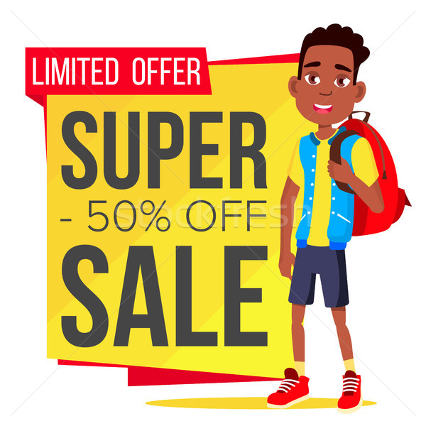 Big Sale Banner Vector. School Children, Pupil. Spring Bright Design. Price Tag Label. Isolated Illu Stock photo © pikepicture