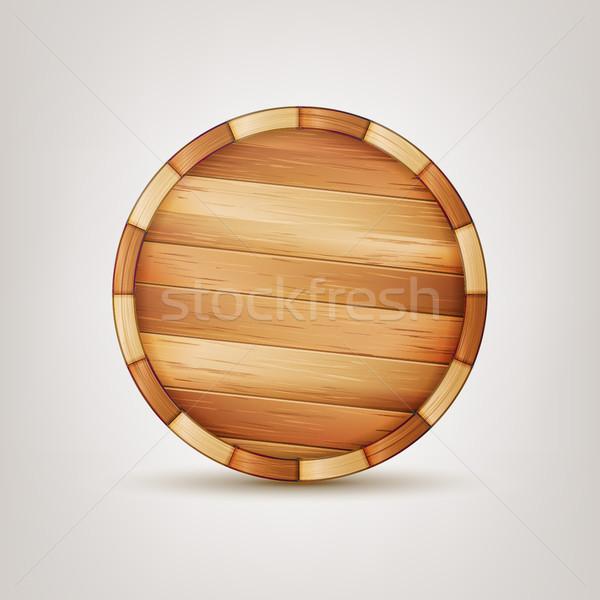 Vat vector houten 3D icon Stockfoto © pikepicture
