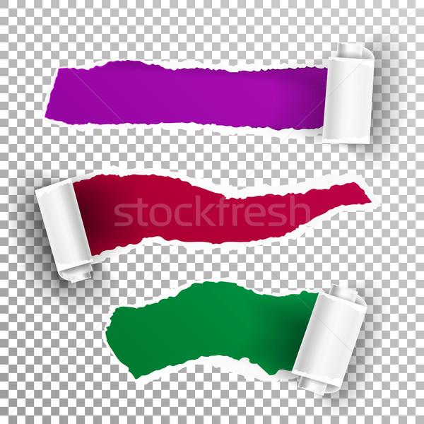 Rozdarty papieru wektora realistyczny papieru otwór ilustracja Zdjęcia stock © pikepicture