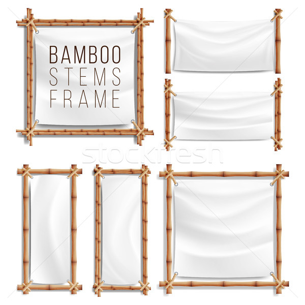 Bamboo Frame Set Vector Stock photo © pikepicture