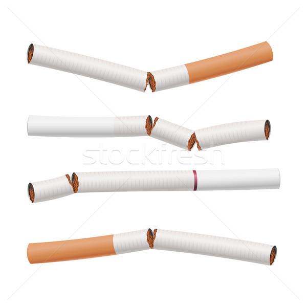 Broken Cigarettes Set Vector. Smoking Kills. Quit Smoking Concept. World No Tobacco Day. Realistic C Stock photo © pikepicture