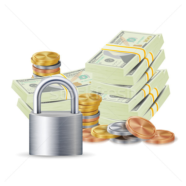 Finance Secure Concept Vector. Metal Coins, Money Banknotes Stacks, Steel Padlock. Finance Banking I Stock photo © pikepicture