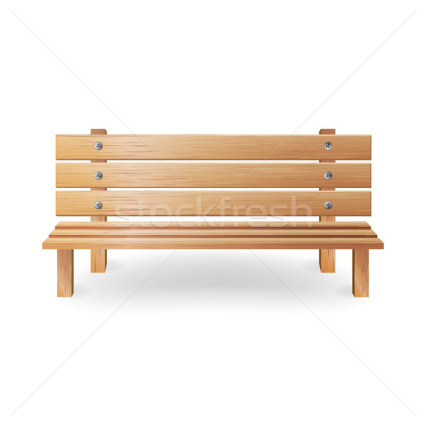Wooden Bench Realistic Vector Illustration. Single Wooden Park Bench On White Stock photo © pikepicture