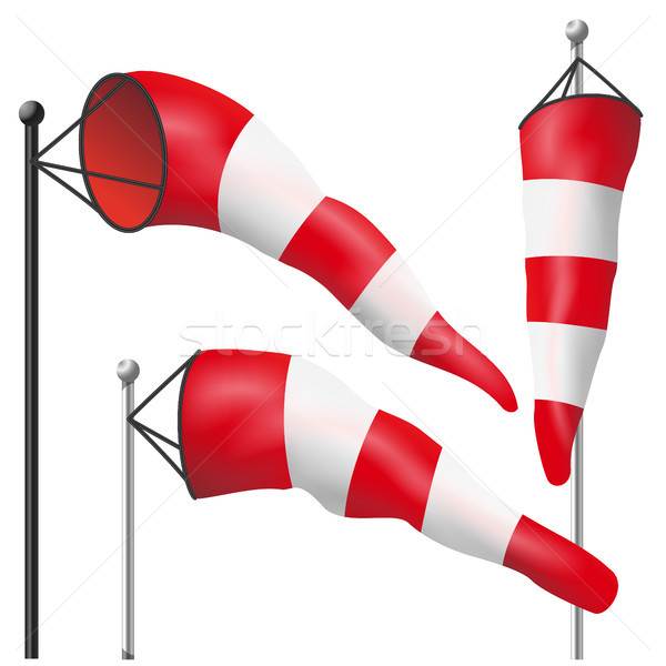 Windsock Sign Isolated Vector. Meteorology Aviation Red And White Illustration Stock photo © pikepicture