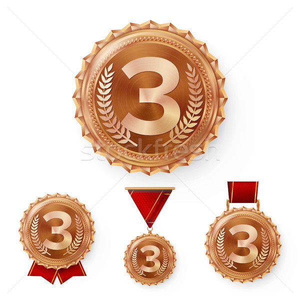 Stock photo: Champion Bronze Medals Set Vector. Metal Realistic 3rd Placement Winner Achievement. Number Three. R