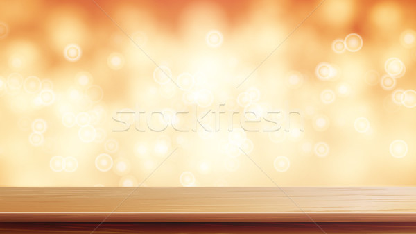 Wood Table Top Vector. Brown Bokeh Abstract Background. Close Up Top Wooden Table. Blurred Warm Boke Stock photo © pikepicture
