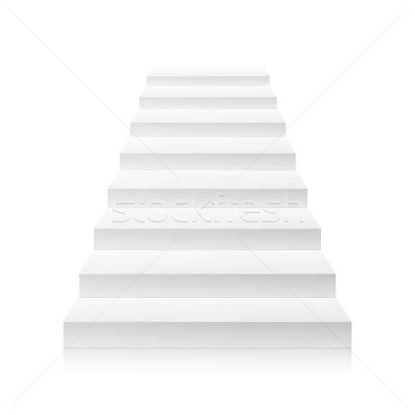 Fehér üres lépcsőház vektor lépcső üzlet Stock fotó © pikepicture