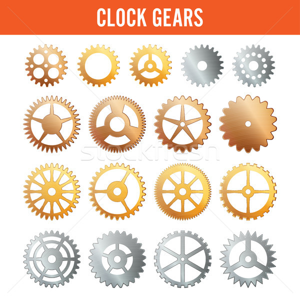 Vector Clock Gears. Metal Icons Isolated On White Background. Silver, Gold, Bronze. Stock photo © pikepicture