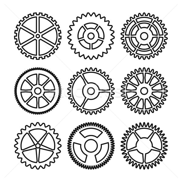 Vector Clock Gears. Outline Icons Set Clock Or Machine Wheel Mechanism. Mechanical, Technology Sign  Stock photo © pikepicture