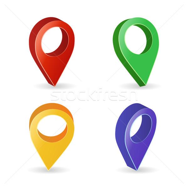 Stockfoto: 3D · kaart · vector · kleurrijk · ingesteld · moderne