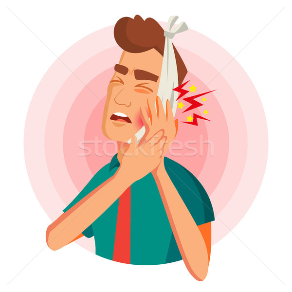 Toothache Concept Vector. Unhappy Man With Ache. Pain In The Human Body. Flat Cartoon Illustration Stock photo © pikepicture