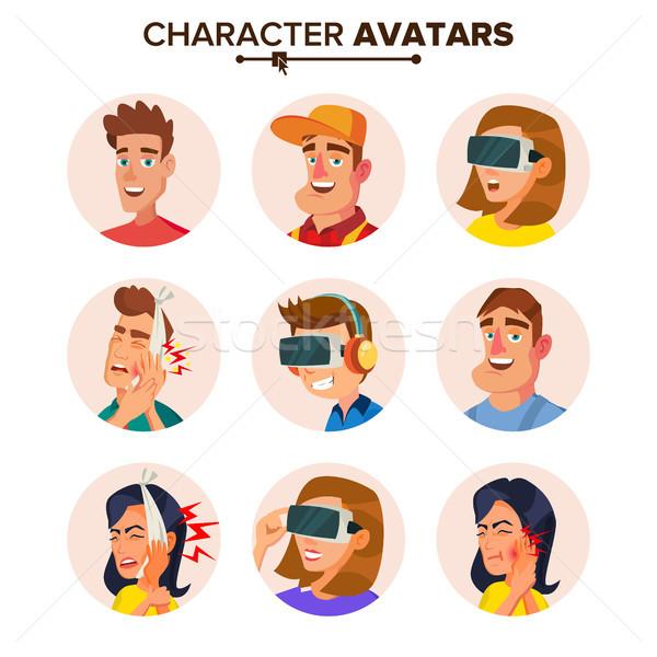 People Characters Avatars Set Vector. Cartoon Flat Isolated Illustration Stock photo © pikepicture