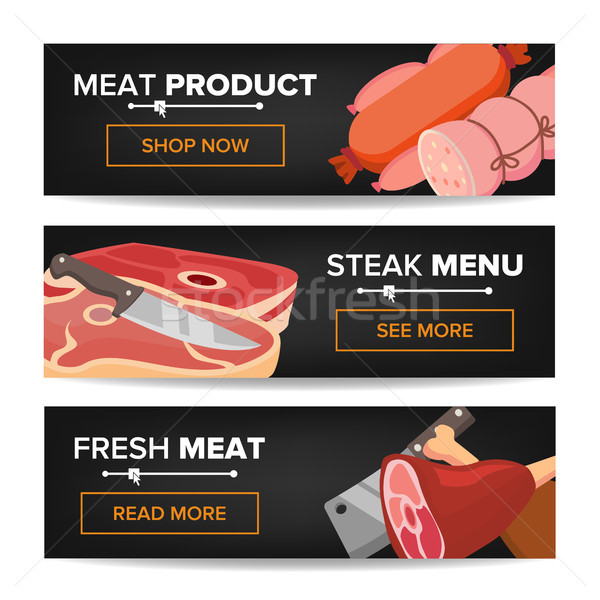 Meat Product Horizontal Promo Banners Vector. Beef And Pork Sausage. For Butcher Shop Promo. Isolate Stock photo © pikepicture