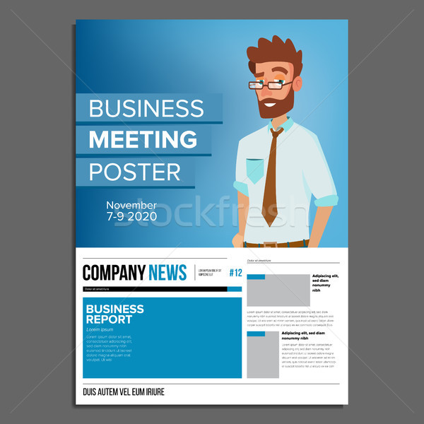 Business meeting poster vector businessman invitation and date add to lightbox download comp stopboris Image collections