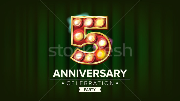 5 Years Anniversary Banner Vector. Five, Fifth Celebration. Glowing Lamps Number. For Traditional Co Stock photo © pikepicture