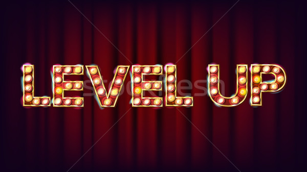 Level Up Banner Vector. Casino Shining Light Sign. For Lottery, Poker, Roulette Design. Game Illustr Stock photo © pikepicture
