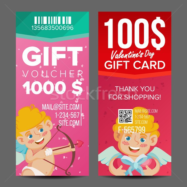 Valentine s Day Voucher Coupon Template Vector. Vertical Leaflet Offer. February 14. Valentine Cupid Stock photo © pikepicture