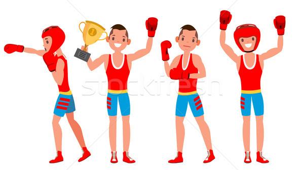Stok fotoğraf: Boksör · eğitim · vektör · boks · spor · atlet