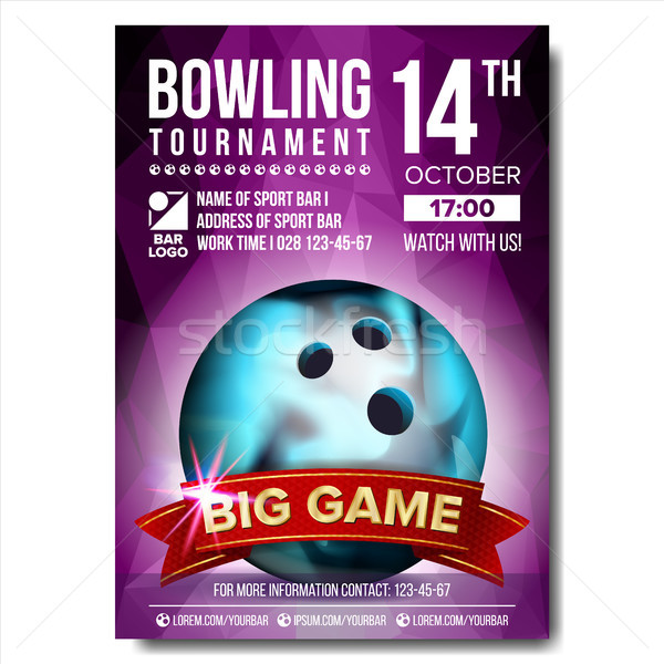 Bowling Poster Vector. Bowling Ball. Vertical Design For Sport Bar Promotion. Tournament, Championsh Stock photo © pikepicture