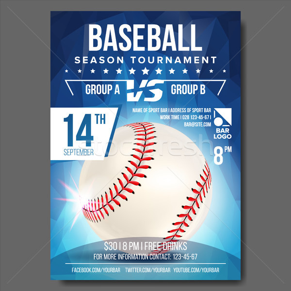 Baseball Poster Vector. Banner Advertising. Sport Event Announcement. Announcement, Game, League Des Stock photo © pikepicture