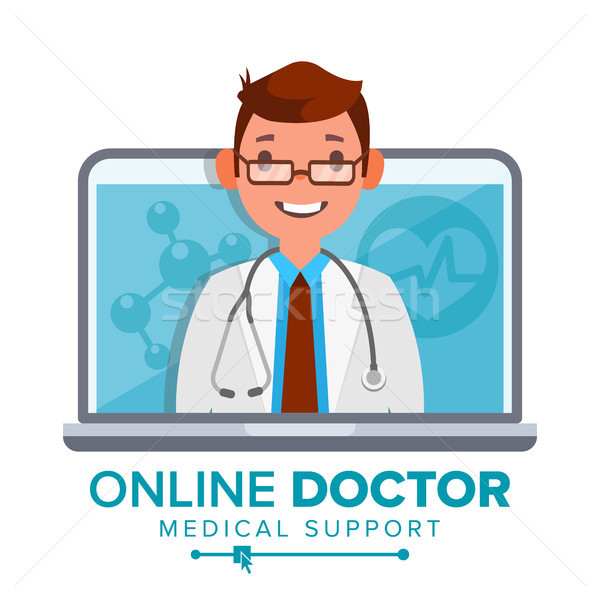 Online Doctor Man Vector. Medical Consultation Concept Design. Male Look Out Laptop. Online Medicine Stock photo © pikepicture