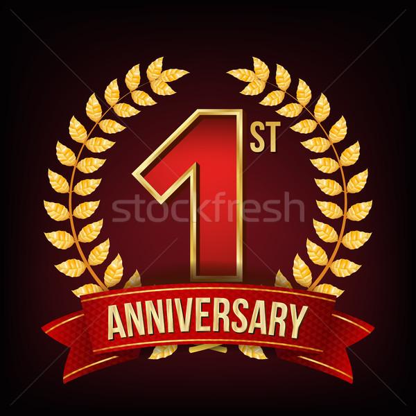 Yıl yıldönümü afiş vektör bir ilk Stok fotoğraf © pikepicture