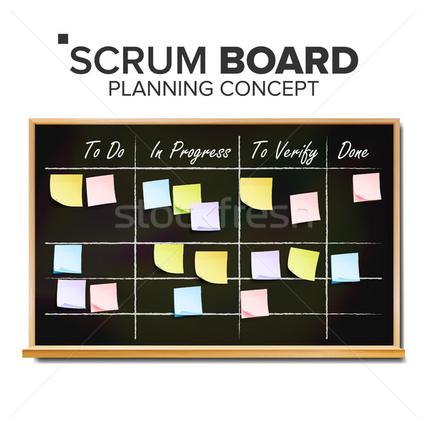 Kanban board Vector. Sticky Notes. Business Working Process Management. Team Planning Iterations. Re Stock photo © pikepicture
