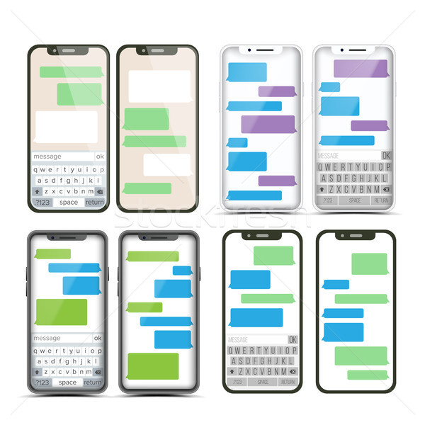 Mobile Screen Messaging Set Vector. Chat Bot Bubbles. Mobile App Messenger Interface. Communication  Stock photo © pikepicture