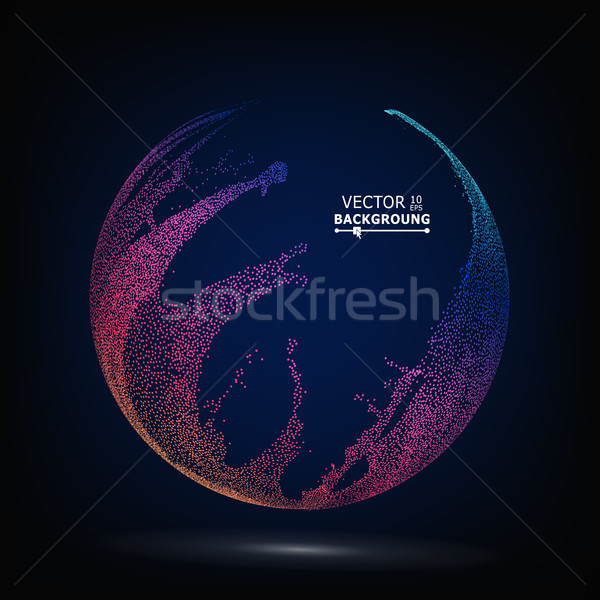 Colorful Sphere Composition Vector. Dotted Abstract Graphics. Glowing Background Stock photo © pikepicture