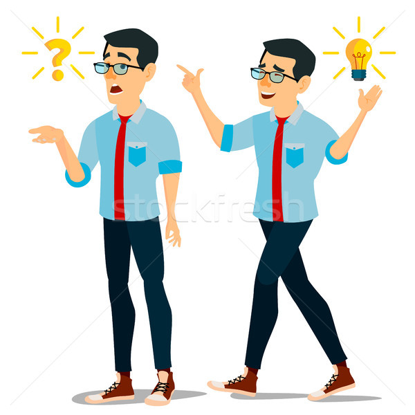 Problem Concept Vector. Thinking Man. Problem Solving. Question Mark, Light Bulb. Creative Project I Stock photo © pikepicture