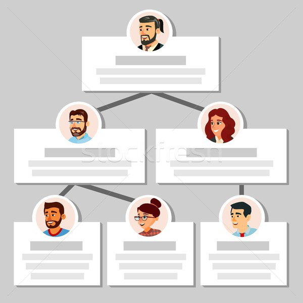 Colleagues Working Flow Chart Vector. Employee Avatars. Team Pyramid Structure. Management System. T Stock photo © pikepicture