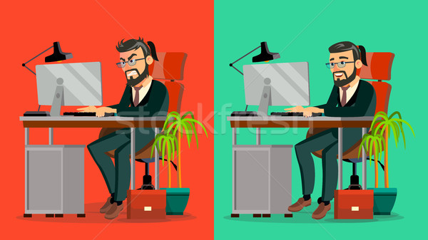 Stressed Out Boss Vector. Bearded CEO Working At Office. Stressful Work, Job. Tired Businessman. Per Stock photo © pikepicture