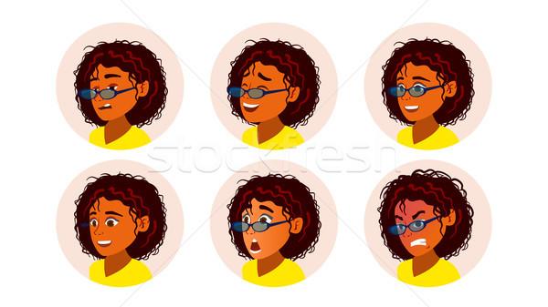 Africano mulher negra avatar vetor africano americano cara da mulher Foto stock © pikepicture