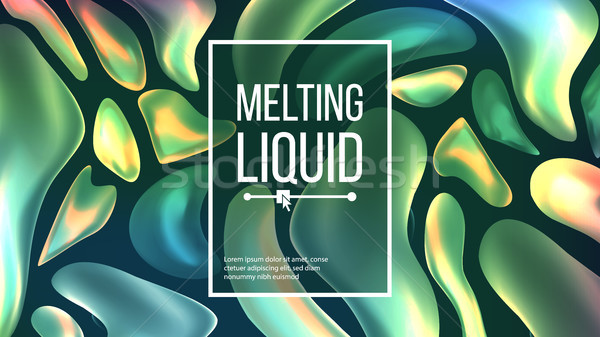 Fluid Liquid Background Vector. Dark Cover. Abstract Flowing Geometric Texture. Dynamic Illustration Stock photo © pikepicture