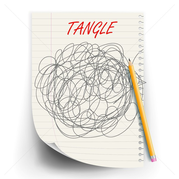 Tangle Scrawl Sketch Vector. Drawing Circle. Tangled Chaotic Doodle. Mind, Brainwork. Spherical Abst Stock photo © pikepicture