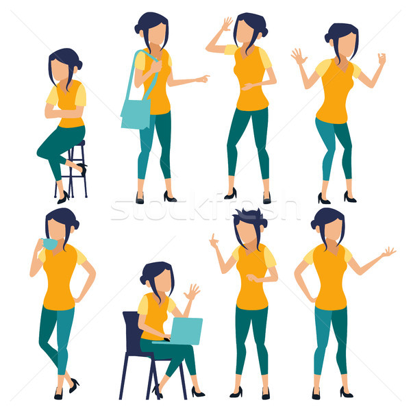 Stock photo: Woman Set Vector. Modern Gradient Colors. People In Action. Business Character. Creative Human. Isol