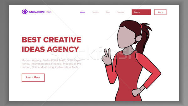 Modern Landing Page Concept Vector. Line Woman. Main Website Page Design. Digital Office. Modern Sty Stock photo © pikepicture