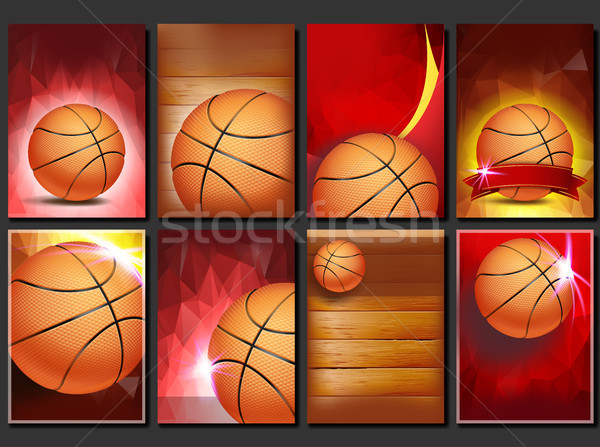 Basketball Poster Set Vector. Empty Template For Design. Basketball Ball. Tournament. Sport Event An Stock photo © pikepicture