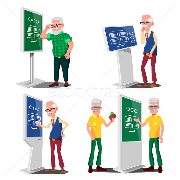 Old Man Using ATM, Digital Terminal Vector. Set. LCD Digital Signage For Indoor Using. Interactive I Stock photo © pikepicture