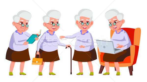 Old Woman Poses Set Vector. Elderly People. Senior Person. Aged. Active Grandparent. Joy. Presentati Stock photo © pikepicture