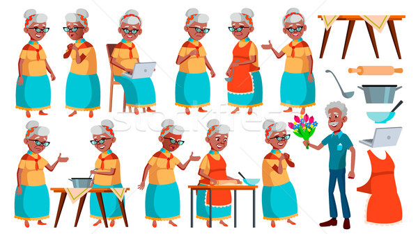 Old Woman Poses Set Vector. Black. Afro American. Elderly People. Senior Person. Aged. Active Grandp Stock photo © pikepicture