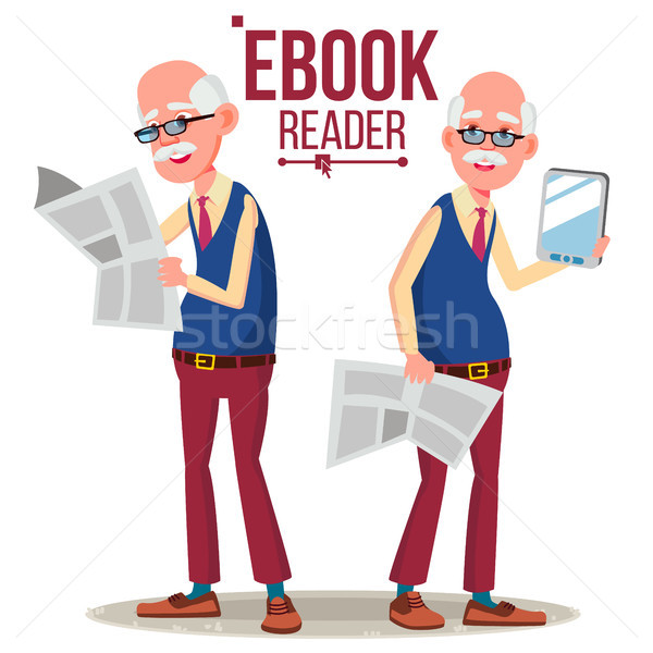 E-Book Reader Vector. Old Man. Paper Book VS E-book. Isolated Flat Cartoon Illustration Stock photo © pikepicture