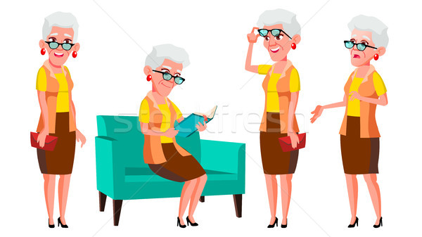 Old Woman Poses Set Vector. Elderly People. Senior Person. Aged. Cheerful Grandparent. Presentation, Stock photo © pikepicture
