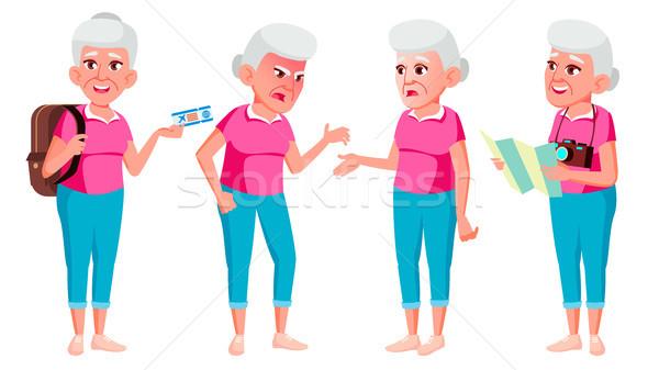 Old Woman Poses Set Vector. Elderly People. Senior Person. Aged. Tourist, Tourism. Caucasian Retiree Stock photo © pikepicture