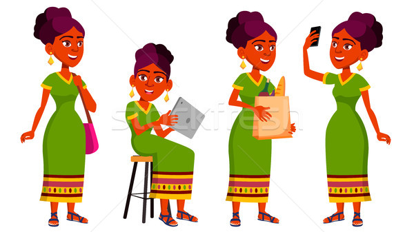 Teen Girl Poses Set Vector. Indian, Hindu. Asian. Leisure, Smile. For Web, Brochure, Poster Design.  Stock photo © pikepicture
