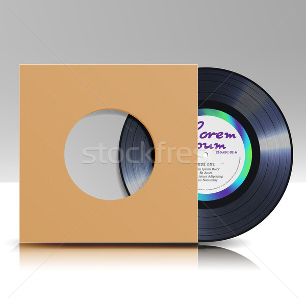 Vinyl Disc In A Case. Blank Isolated White Background. Realistic Empty Template Of A Music Record Pl Stock photo © pikepicture